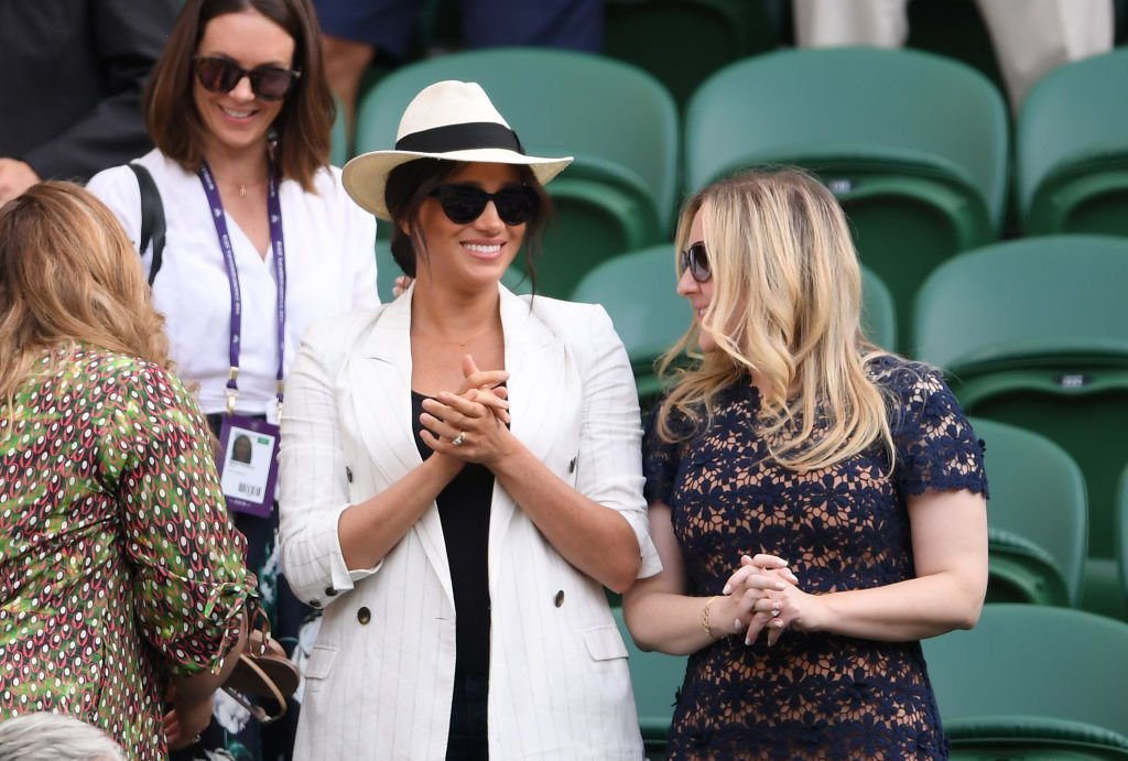 Meghan Markle watches on during the ladies' Singles Second round match between Serena Williams and Kaja Juvan  | Getty Images