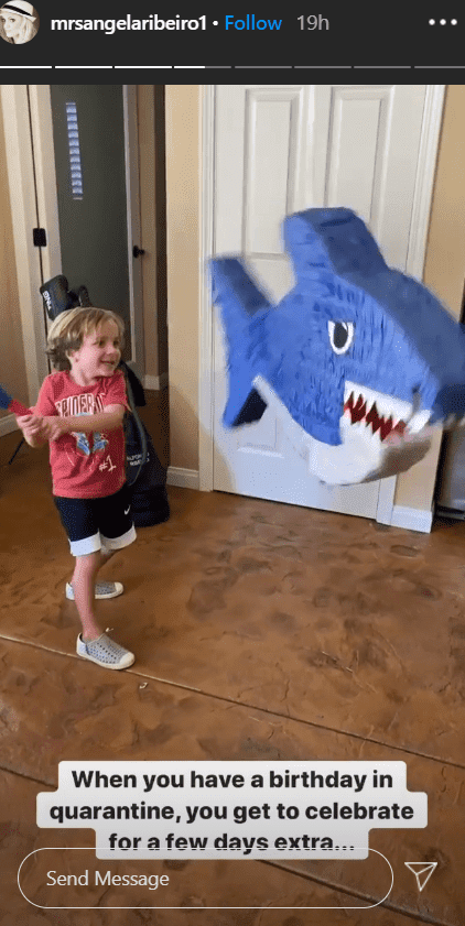 "Anders enjoying his ""Baby Shark"" pinata on his 5th birthday celebration at home 