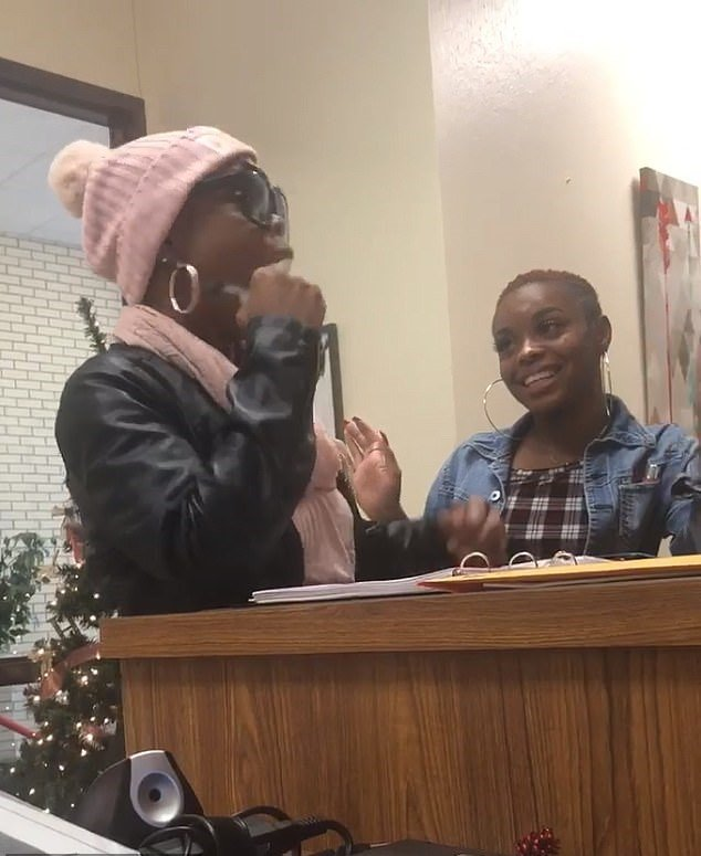 Promise couldn't contain her smile as she delivered the good news.  | Source: Facebook/Grand Prairie ISD
