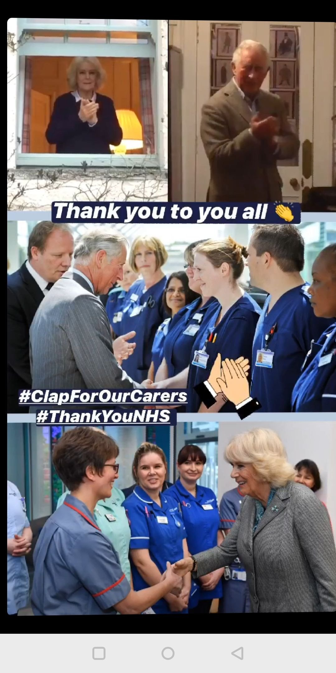 Prince Charles and Duchess Camilla taking part in the#ClapForCarers initiative on March 26, 2020 | Photo: Instagram Story/clarencehouse