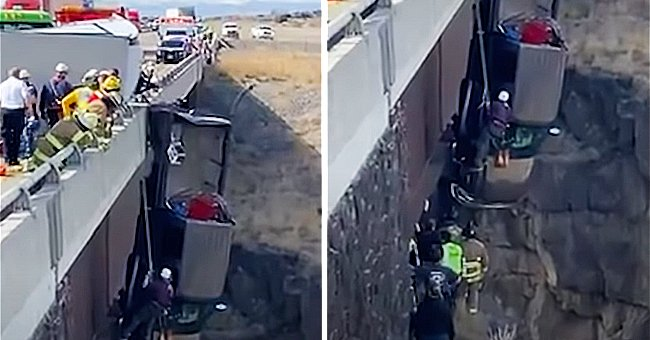 Emergency Crews Rescue Two People and Two Dogs from a Pickup Truck Dangling over Idaho Gorge