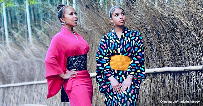 Steve Harvey's Wife Marjorie Shows off Tiny Waist in Kimono While on Vacation with Daughter Lori