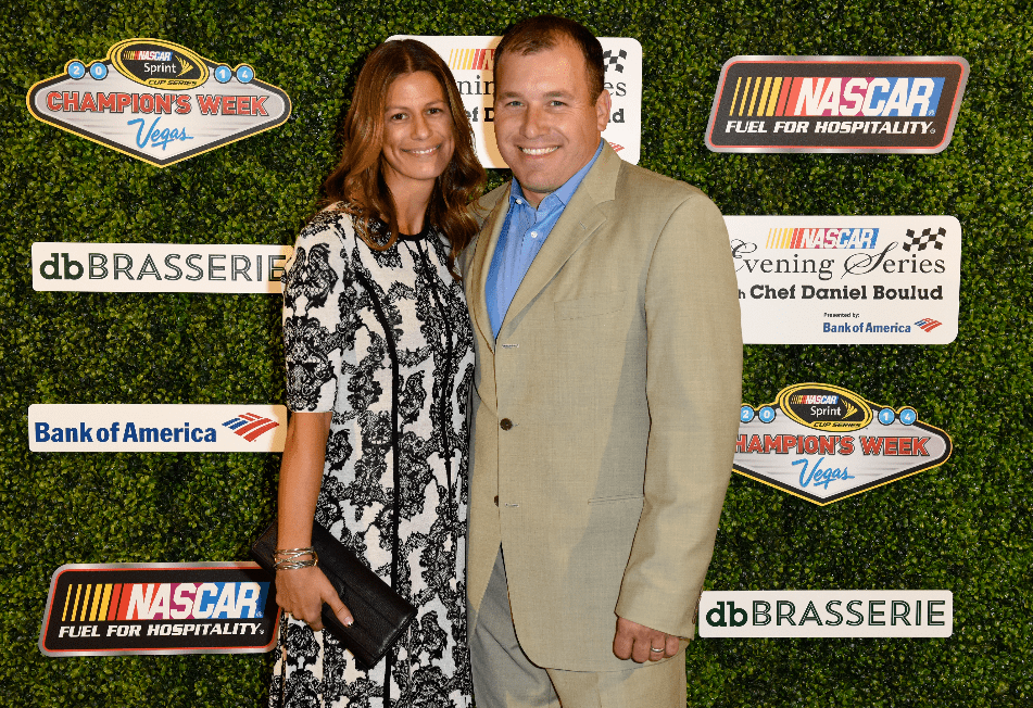 Ryan Newman poses with his wife Krissie during the NASCAR Evening Series with Chef Daniel Boulud presented by Bank of America at db Brasserie at The Venetian Las Vegas on December 3, 2014 in Las Vegas, Nevada. | Source: Getty Images
