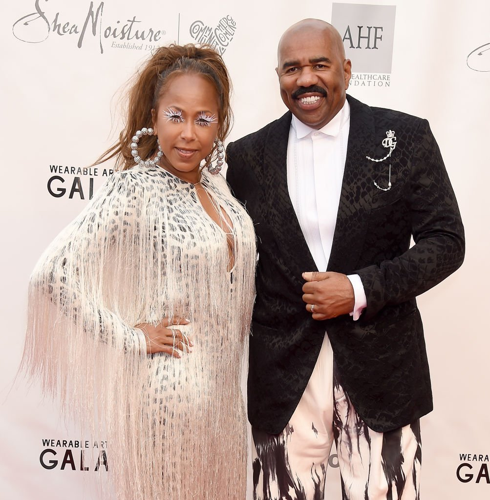Steve Harvey and Marjorie Elaine Harvey arrive at the WACO Theater Center's 3rd Annual Wearable Art Gala at The Barker Hangar at Santa Monica Airport | Photo: Getty Images
