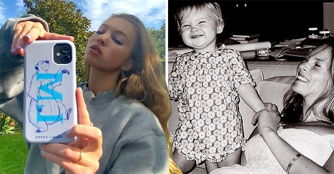 Lila Grace Moss advertising the ChaosX Disneyclassics iPhone case collection and Kate Moss playing with her as a baby. Pics uploaded onOctober 2020 and January 2021 | Photo: Instagram/lilamoss