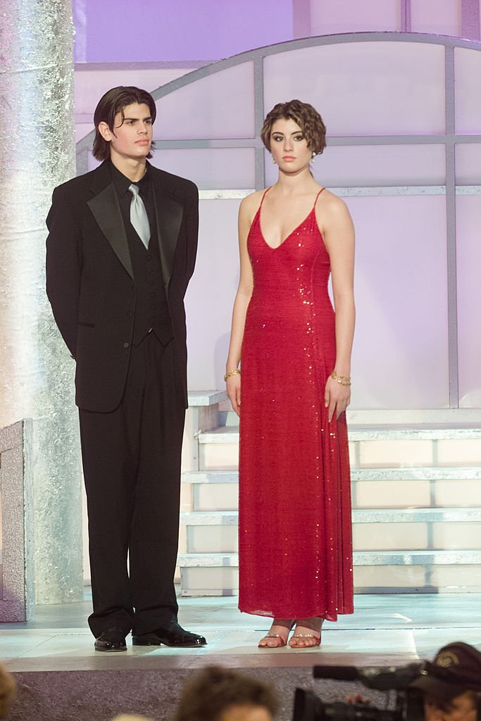Mr. and Miss Golden Globe A.J. Lamas and Dominik Garcia-Lorido are seen on stage at the 60th Annual Golden Globe Awards held at the Beverly Hilton Hotel on January 19, 2003   Photo: Getty Images