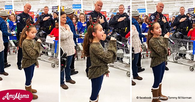 Little girl steals the show at Walmart, singing an amazing version of the national anthem