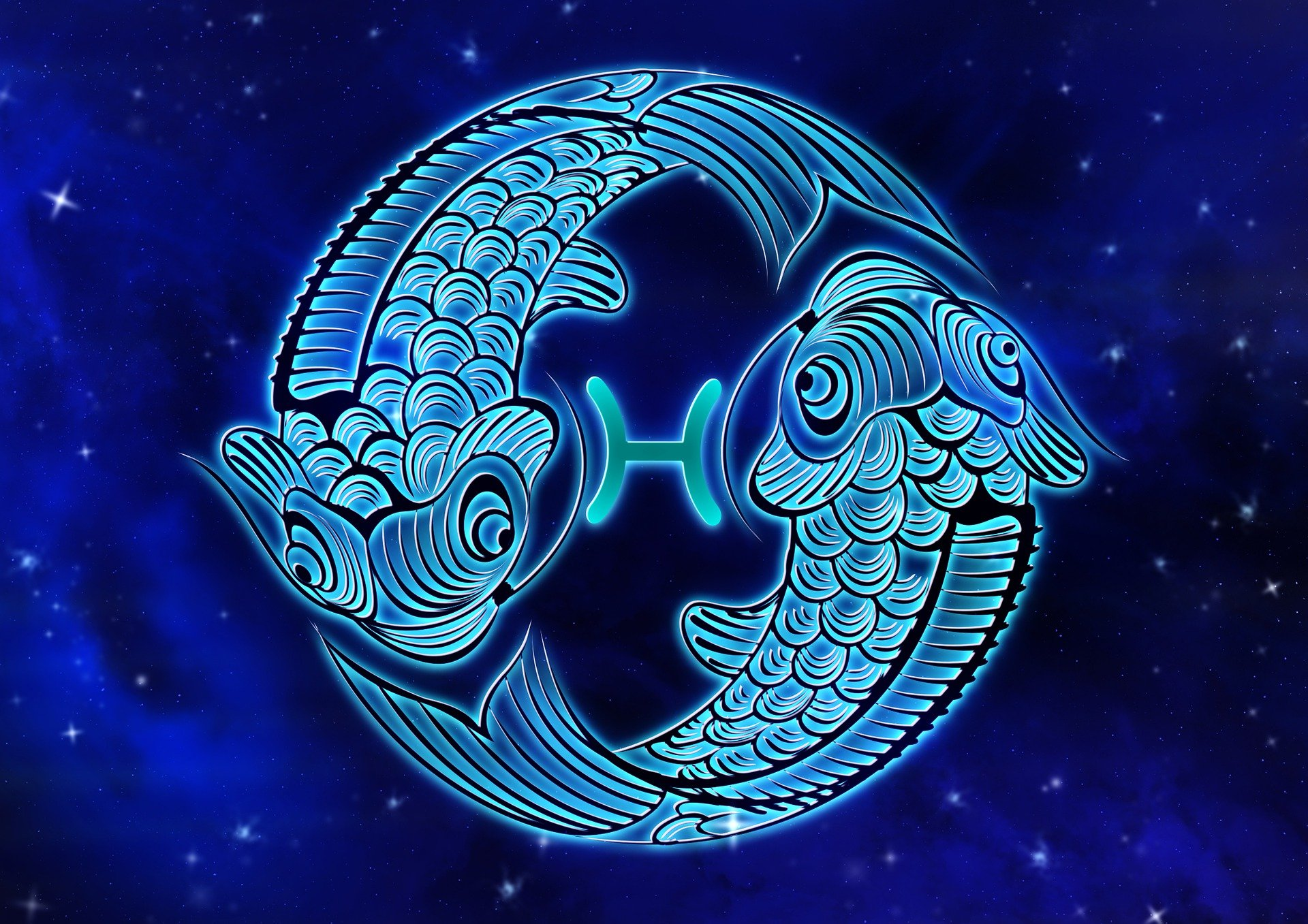 An illustration of a Pisces star sign | Source: Pixabay