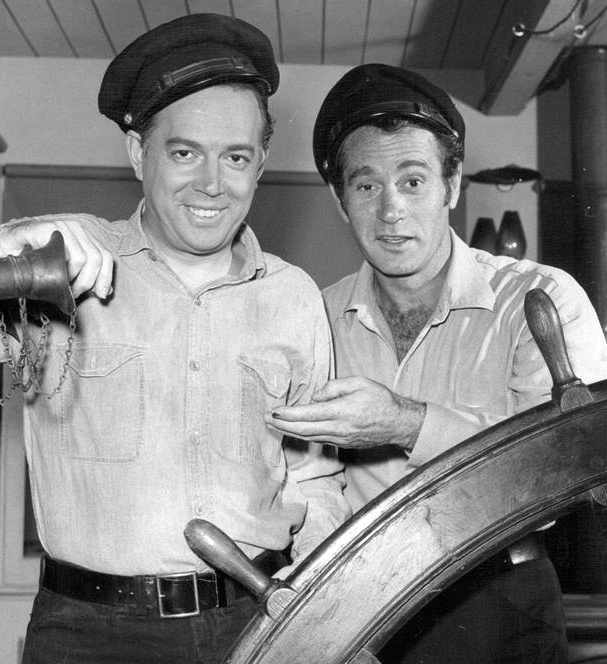 "Publicity photo of Hugh Downs and Darren McGavin from the television show ""Riverboat,"" circa 1960s. 