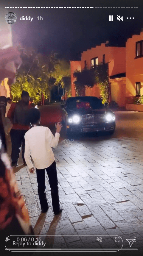 """A photo of a luxury Bentley that rap mogul Sean """"Diddy"""" Combs gifted his mom Janice during her 80th birthday party in Los Angeles.  