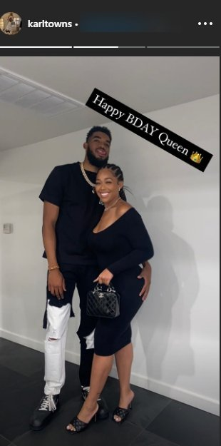 A picture of Karl-Anthony Towns and Jordyn Woods in tribute to her birthday. | Photo: Instagram/Karltowns