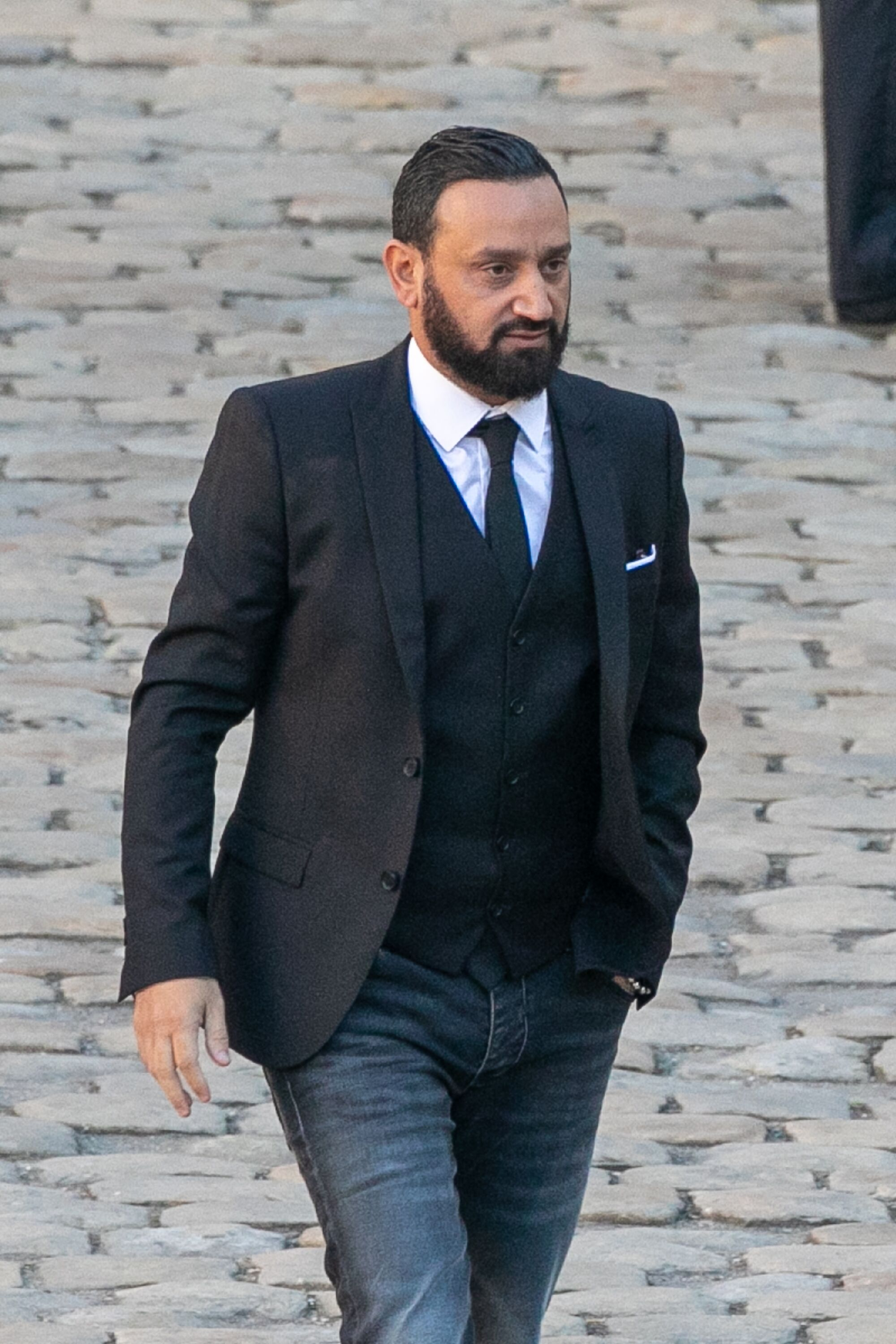 Cyril Hanouna assiste à l'hommage national à Charles Aznavour aux Invalides le 5 octobre 2018 à Paris, France. | Photo : Getty