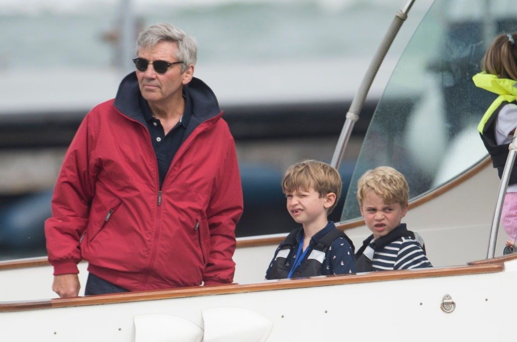 Michael Middleton (L) with Prince George (R) at The Royal Yacht Squadron during the inaugural Kings Cup regatta hosted by the Duke and Duchess of Cambridge on August 08, 2019 in Cowes, England.   Photo: Getty Images