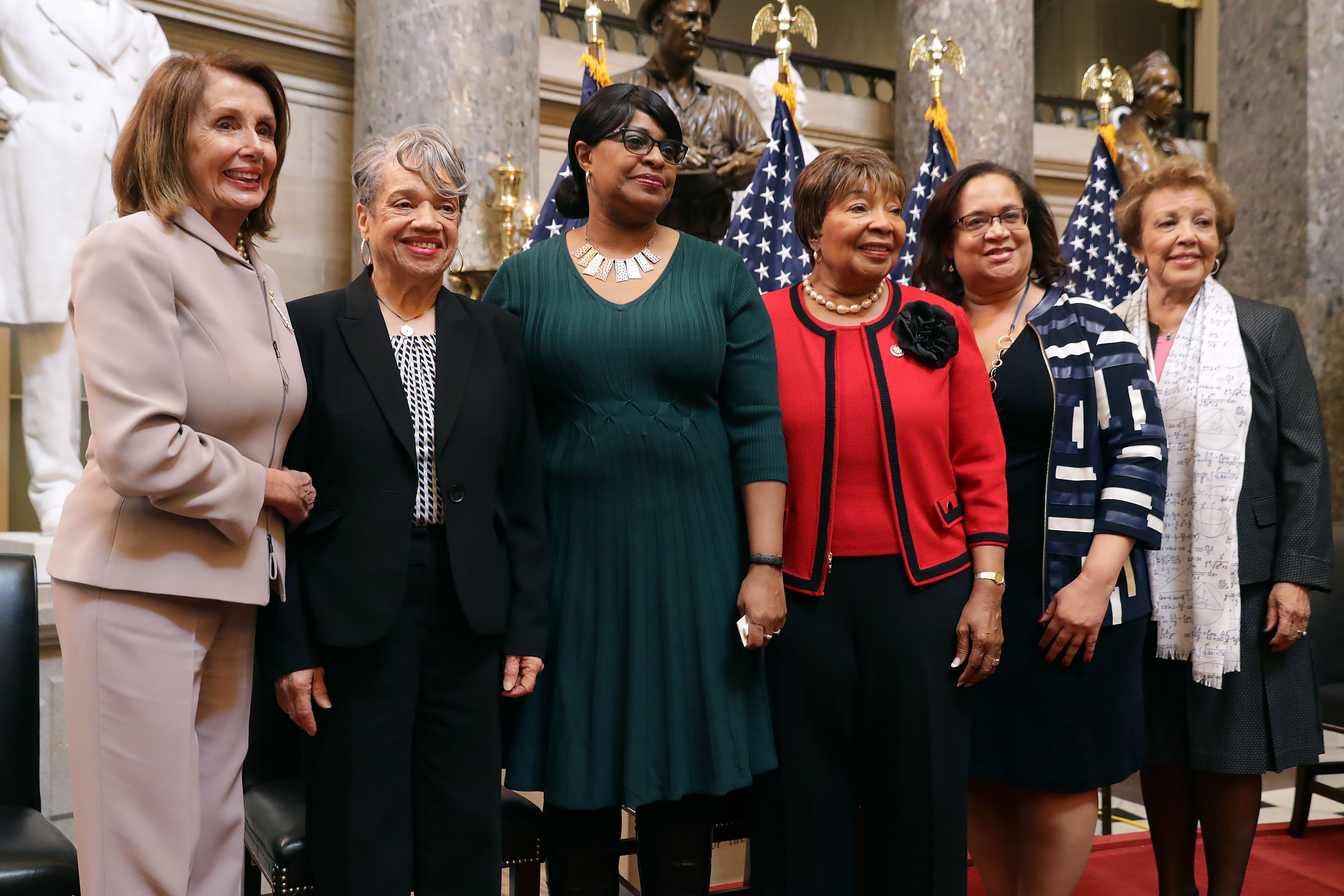 Speaker of the House Nancy Pelosi, Dr. Christine Darden, Carolyn Lewis, Rep. Eddie Bernice Johnson, Maida Robinson and Joylette Hylick at the U.S. Capitol March 27, 2019. | Source: Getty Images
