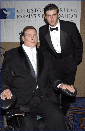 Christopher Reeve and son Matthew Reeve during a birthday bash to celebrate The Christopher Reeve Paralysis Foundation | Photo: Getty Images