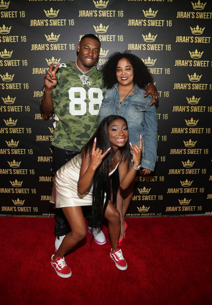 KalanFrFr, Jirah Mayweather and Josie Harris arrive in the red carpet at Jirah Mayweather's Sweet 16 Birthday Party on June 20, 2019, in Valencia, California | Source: Cassidy Sparrow/Getty Images