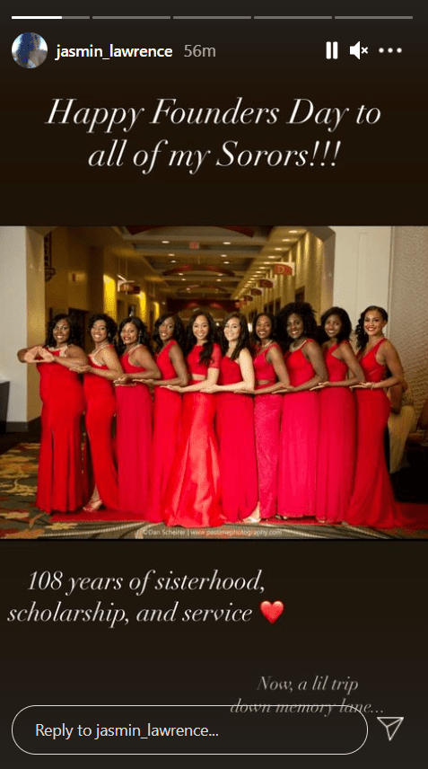 Jasmine Lawrence in a group photo with her fellow sorors in honor of their sorority's founders day.   Photo: Instagram/Jasmin_lawrence