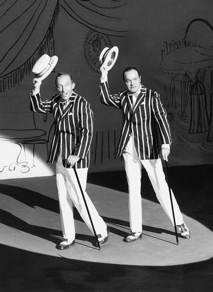 """Bob Hope and Bing Crosby on the film set of """"The Road to Hong Kong"""" at Shepperton Studios, England, circa 1961.   Photo: Getty Images"""