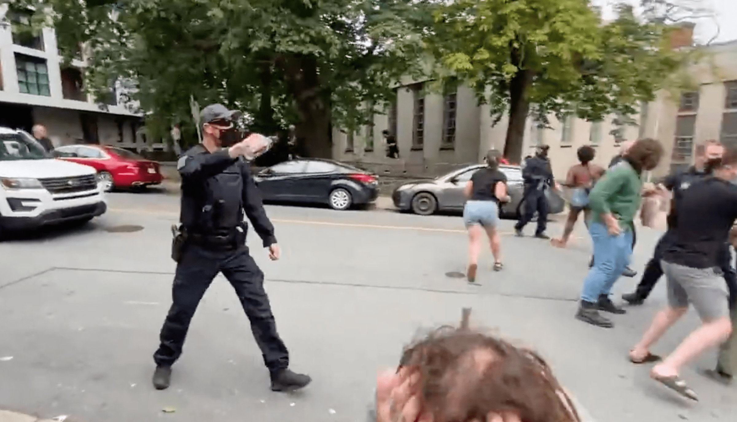 A police officer can be seen walking toward protestors with his hand raised | Photo: Twitter/zwoodford