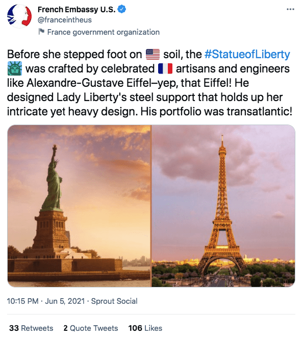 A screenshot the the statue of liberty and the eiffel tower   Photo: twitter.com/French Embassy U.S.