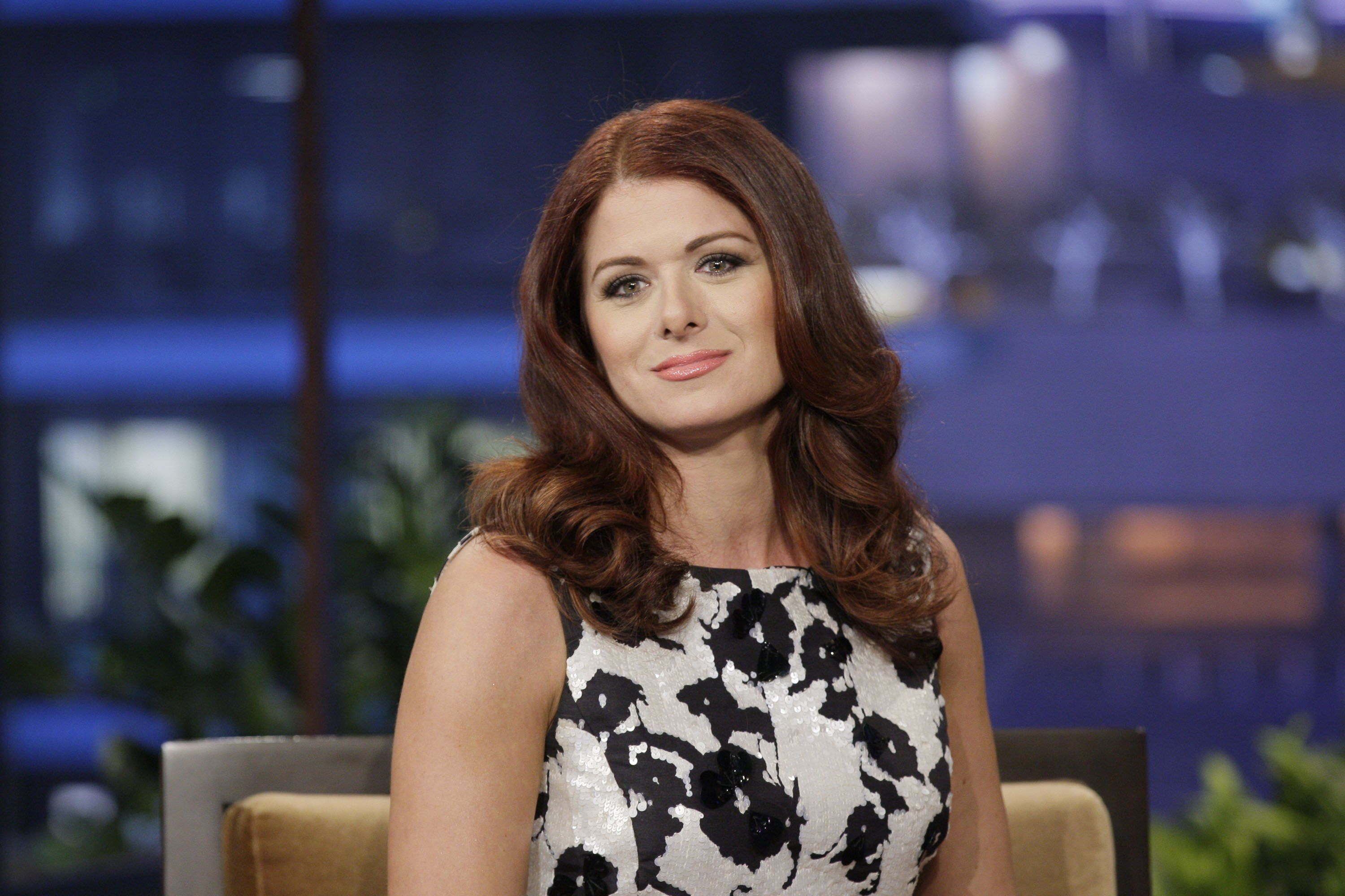 "Debra Messing on ""The Tonight Show With Jay Leno"" in 2012 