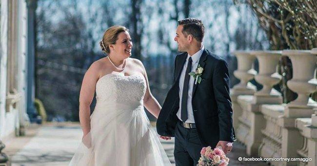 Tauber Bräutigam hört auf seiner Hochzeit zum ersten Mal Klatschen