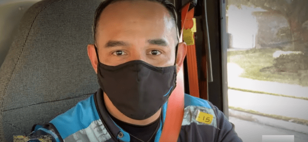 Juan Carlos Flores, the Amazon driver who rescued a five-month-old baby in Houston, Texas, on January 25, 2021 | Photo: YouTube/ABC News