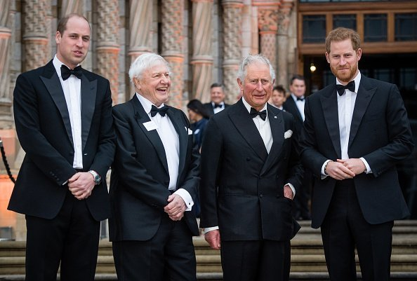 Prince William, Sir David Attenborough, Prince Charles, and Prince Harry, at Natural History Museum  in London.  Photo: Getty Images.
