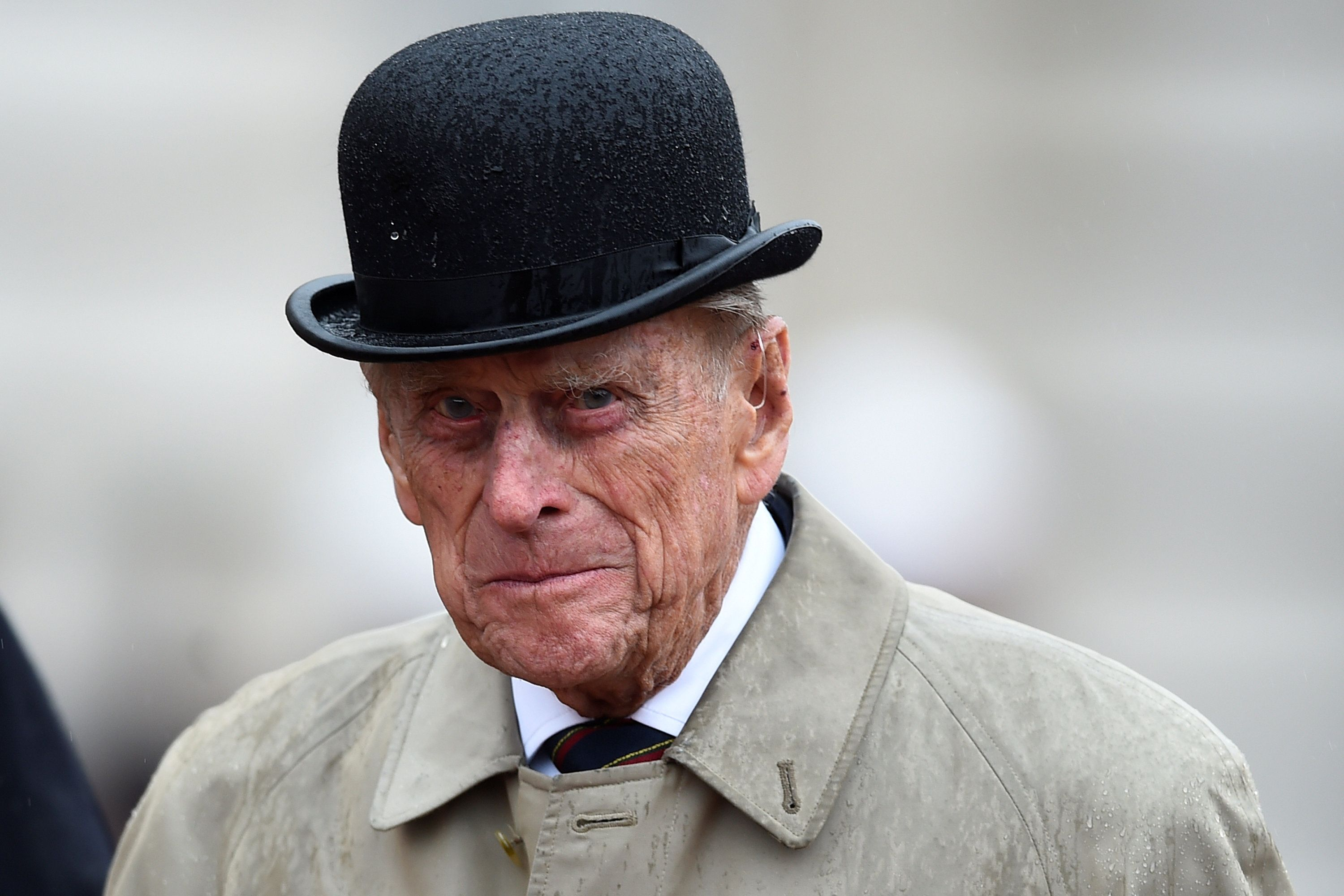 prince Philip, Duke of Edinburgh as Captain General, Royal Marines, making his final individual public engagement while attending a parade to mark the finale of the 1664 Global Challenge on the Buckingham Palace Forecourt in London, England   Photo: Getty Images