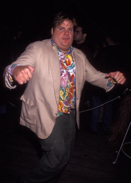 Chris Farley on September 28, 1991 at Rockefeller Plaza in New York City.   Photo: Getty Images