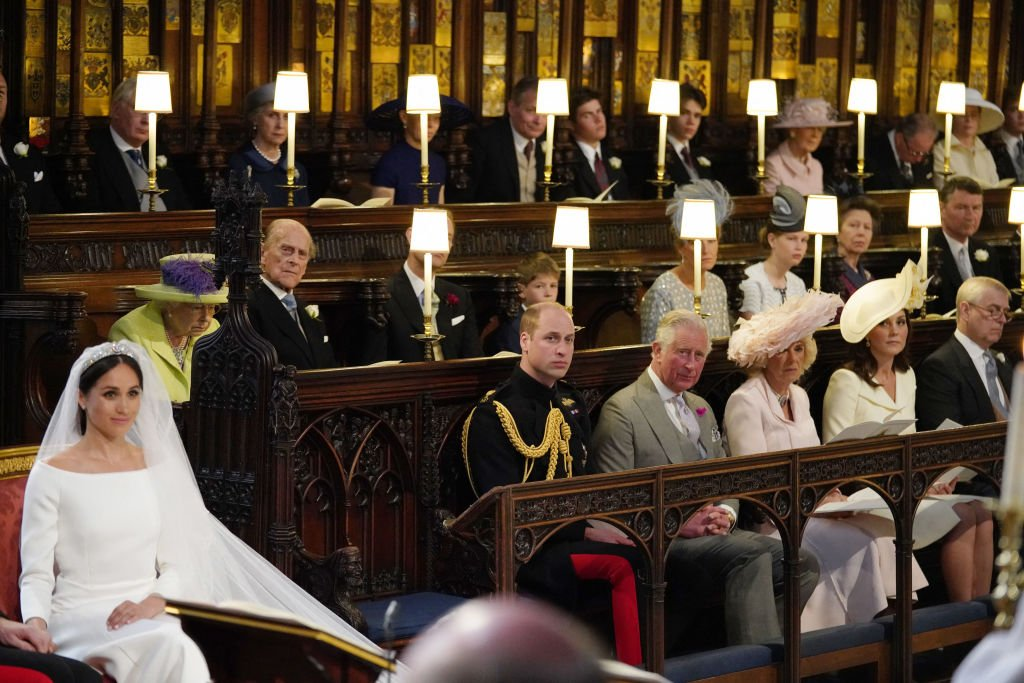 The royal family in the chapel for the wedding ceremony of Britain's Prince Harry, Duke of Sussex and US actress Meghan Markle in St George's Chapel, Windsor Castle, in Windsor, on May 19, 2018. | Photo: Getty Images