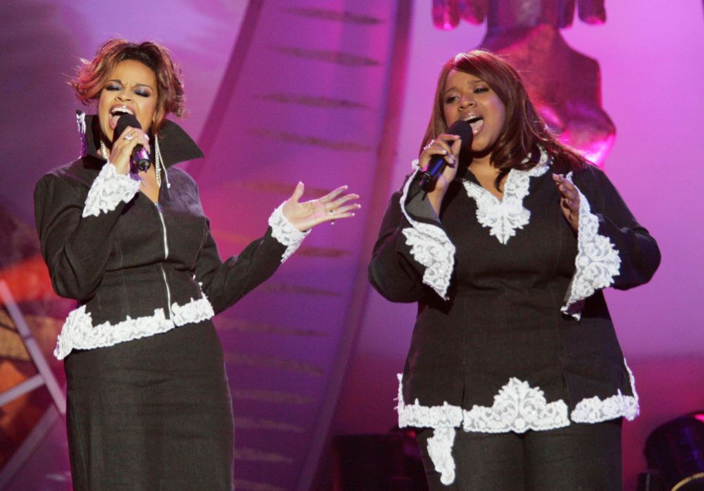 Kierra Sheard and Karen Clark Sheard performing at the 19th Annual Soul Train Music Awards in February 2005   Source: Getty Images