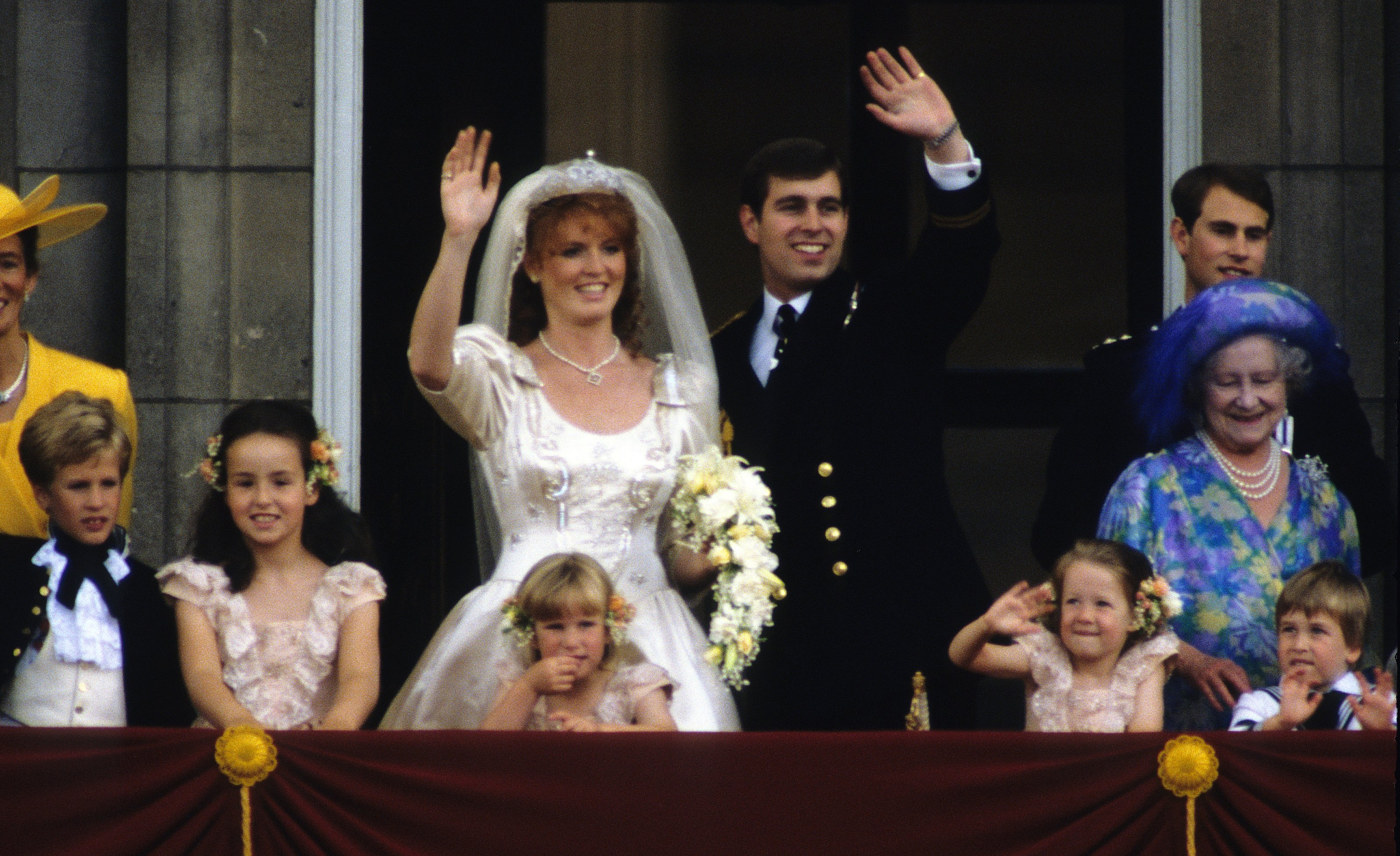 Sarah Ferguson, Duchess of York and Prince Andrew, Duke of York on their wedding day on July 23, 1986, in London, England.   Source: Getty Images.