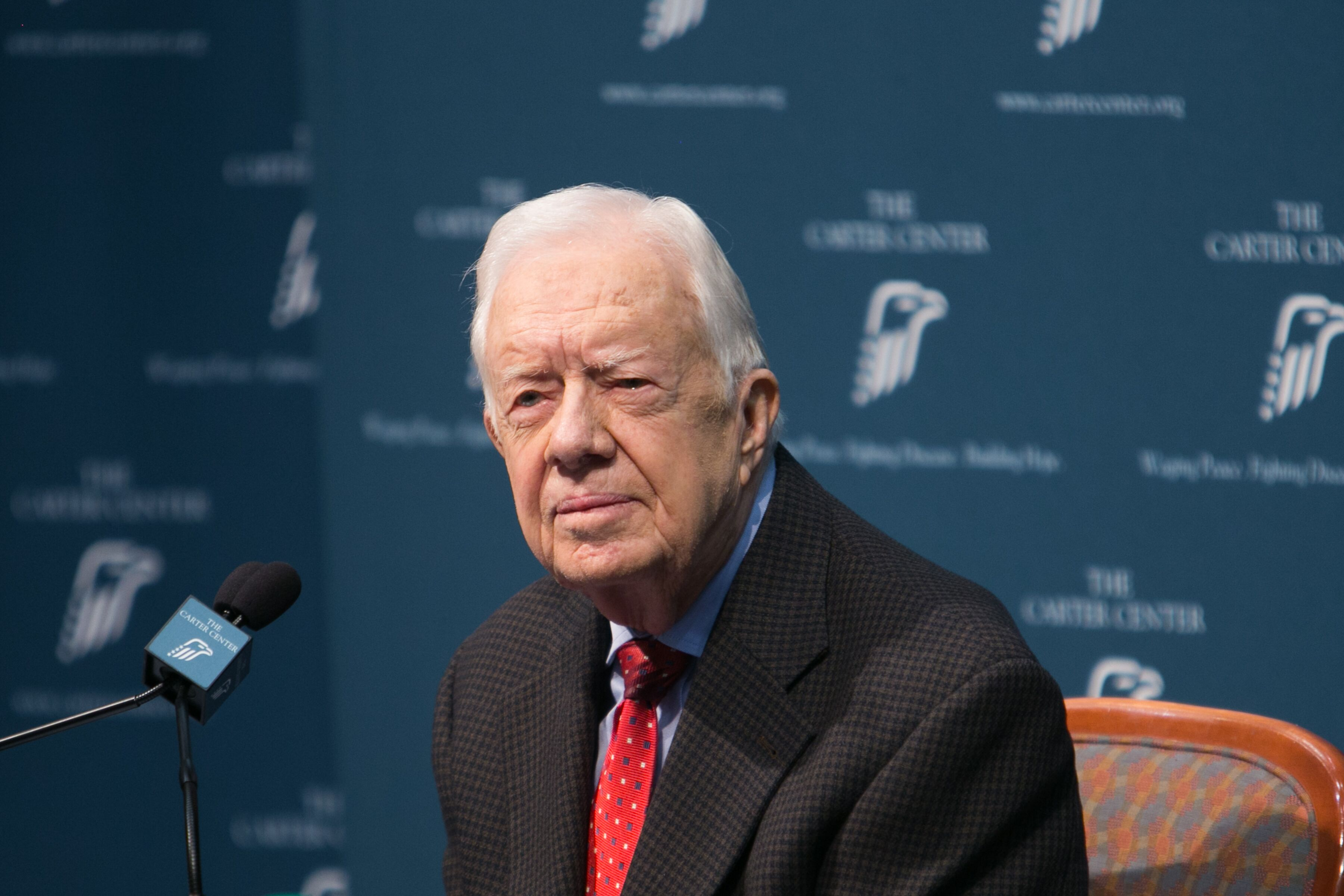 Jimmy Carter at a press conference at the Carter Center on August 20, 2015, in Atlanta, Georgia | Photo: Getty Images