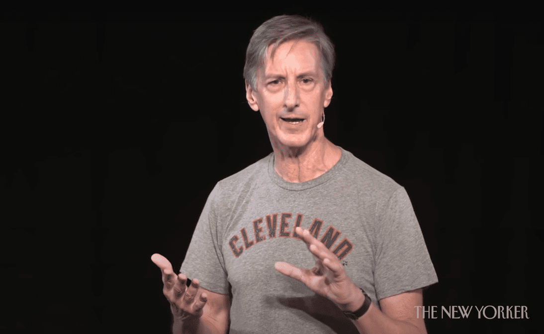 Andy Borowitz speaks in front of an audience.   Source: Youtube.com/TheNewYorker