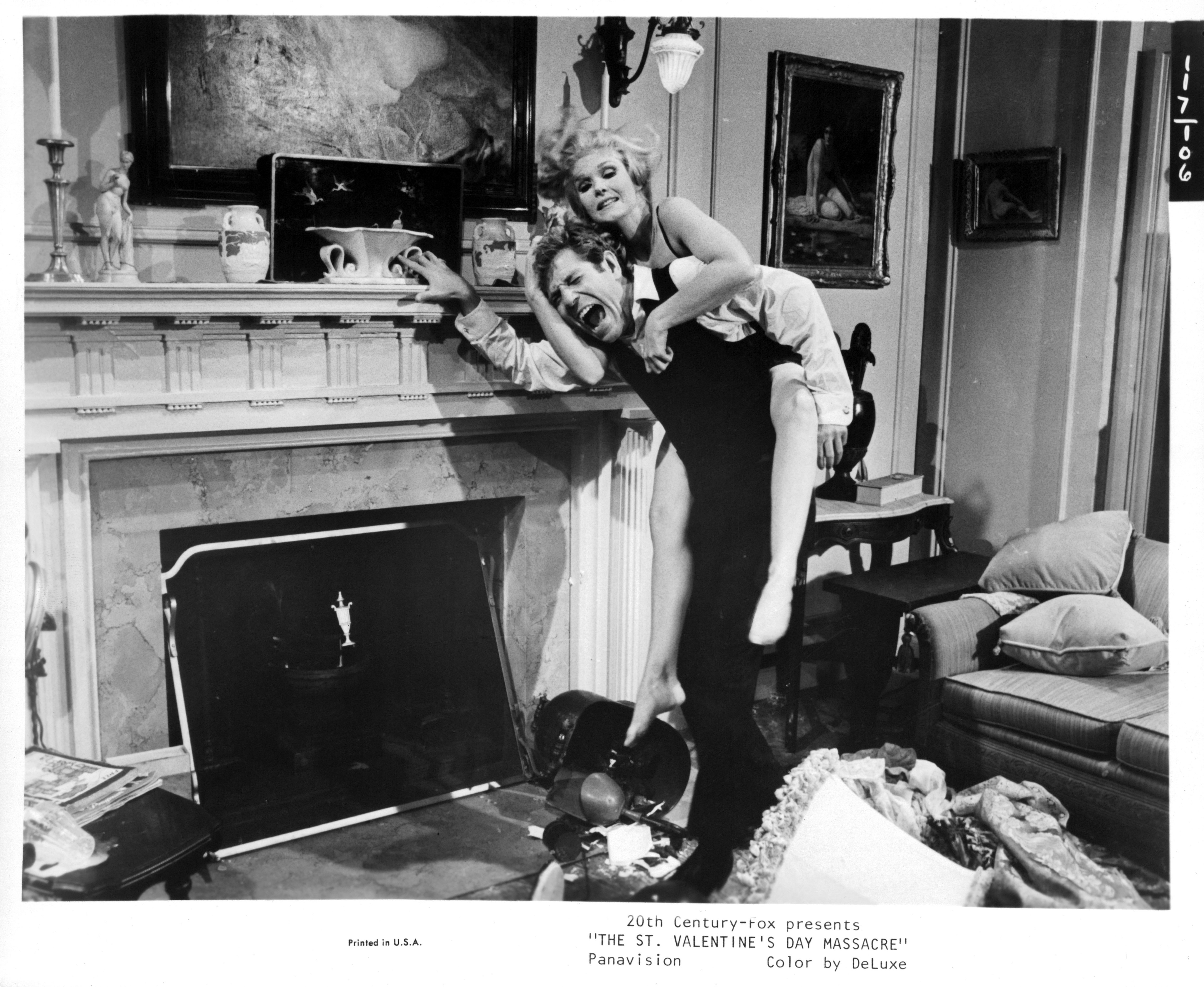 """Jean Hale and George Segal on the set of """"The St. Valentines Day Massacre,"""" 1967   Photo: Getty Images"""