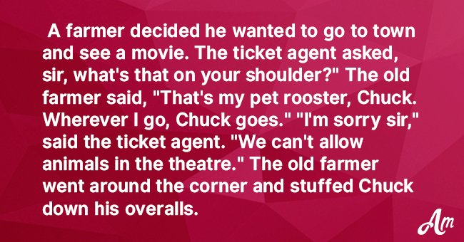 Joke: Farmer Secretly Takes His Rooster to the Cinema