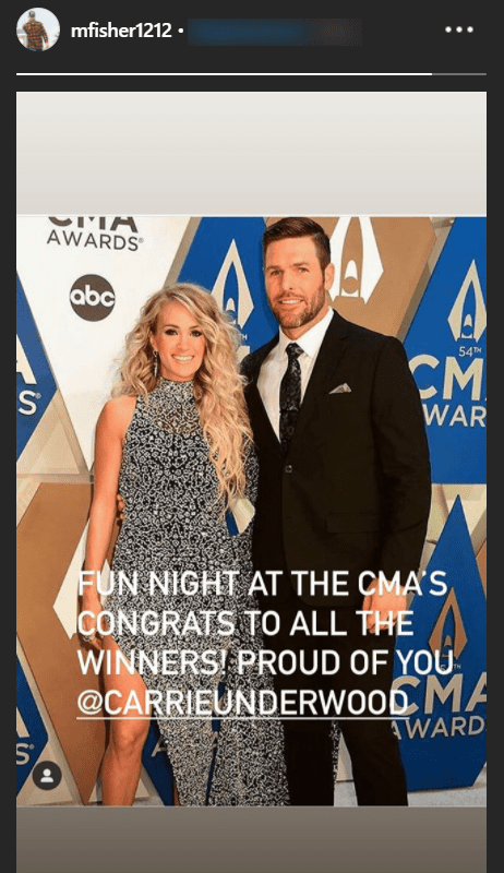 Country singer, Carrie Underwood and her husband, Mike Fisher, on the red carpet of the 2020 CMA awards. | Photo: Instagram/mfisher1212
