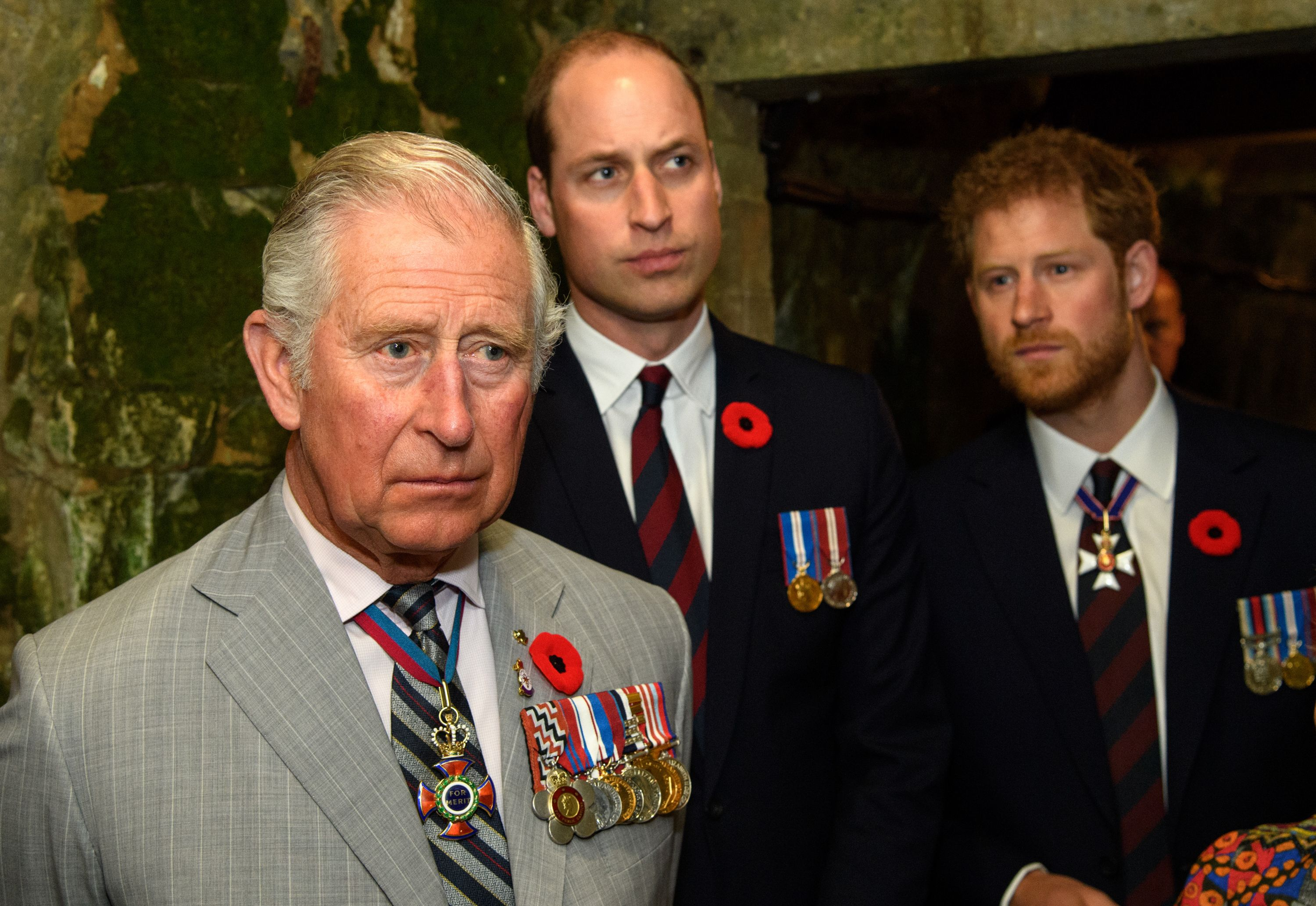 Charles, Prince of Wales, Prince William, and Prince Harry at the 100th anniversary of the battle of Vimy Ridge in 2017 in Lille, France | Source: Getty Images