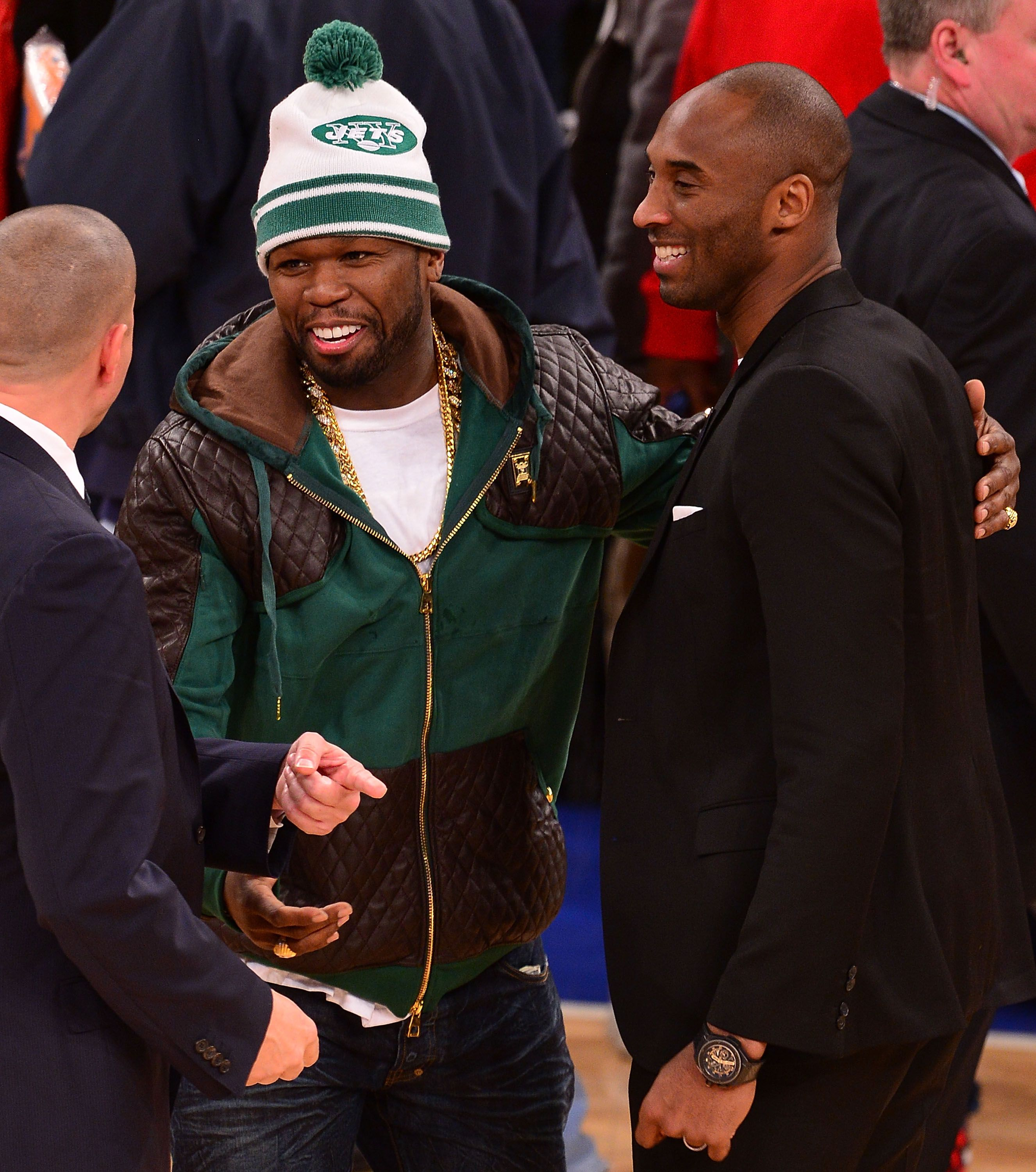 50 Cent and Kobe Bryant share an embrace as they attended the Los Angeles Lakers versus the New York Knicks on January 26, 2014 in New York | Source: Getty Images (Photo by James Devaney/GC Images)