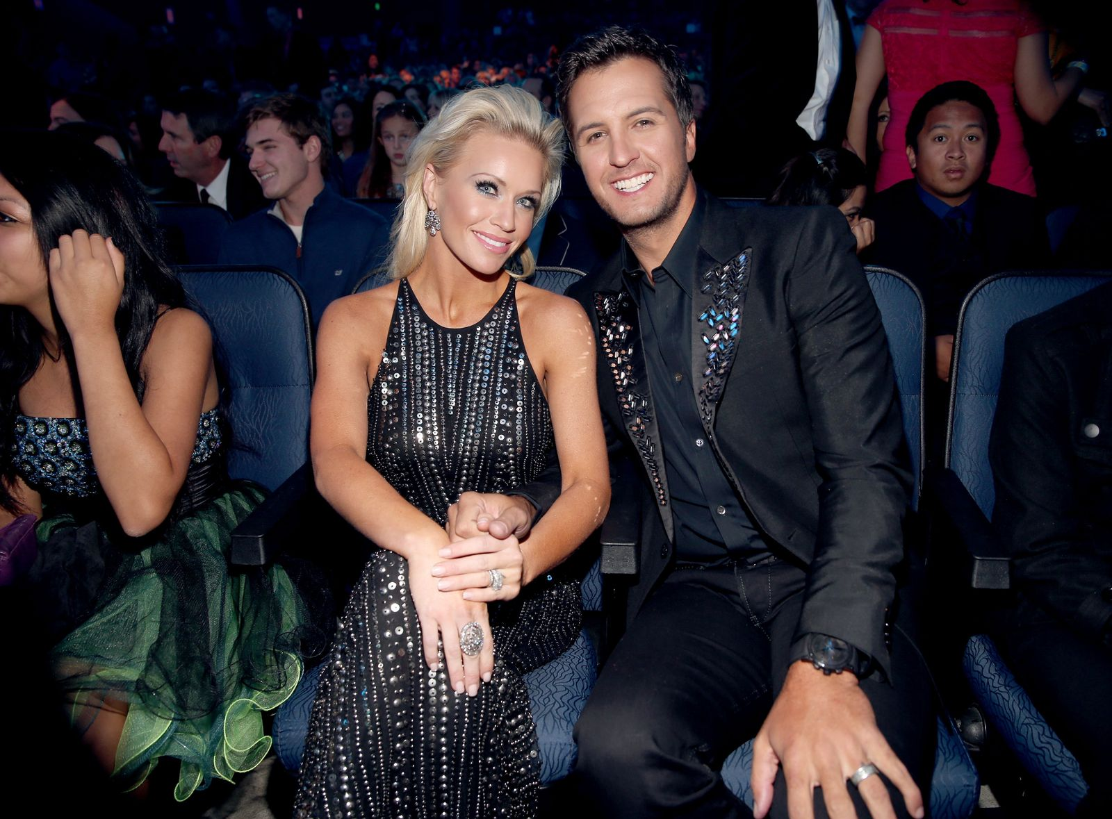 Luke Bryan and wife Caroline Bryan at the American Music Awards on November 24, 2013, in Los Angeles, California   Photo: Christopher Polk/AMA2013/Getty Images