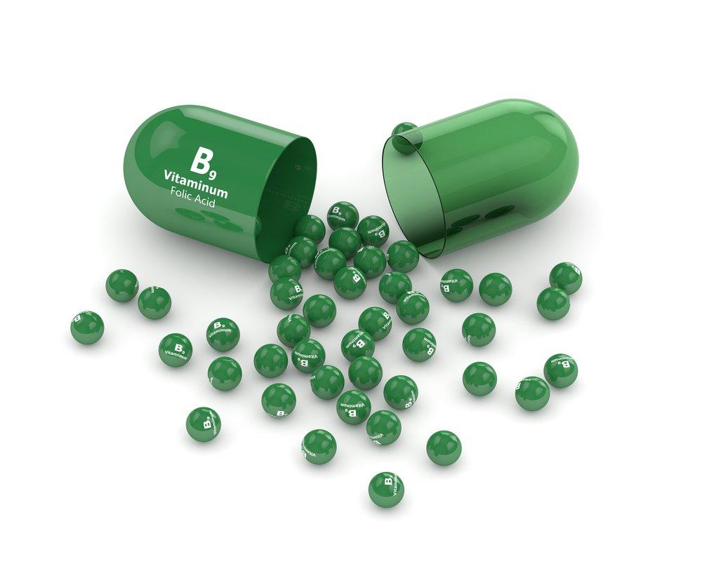 3d render of B9 folic acid pill. | Source: Shutterstock