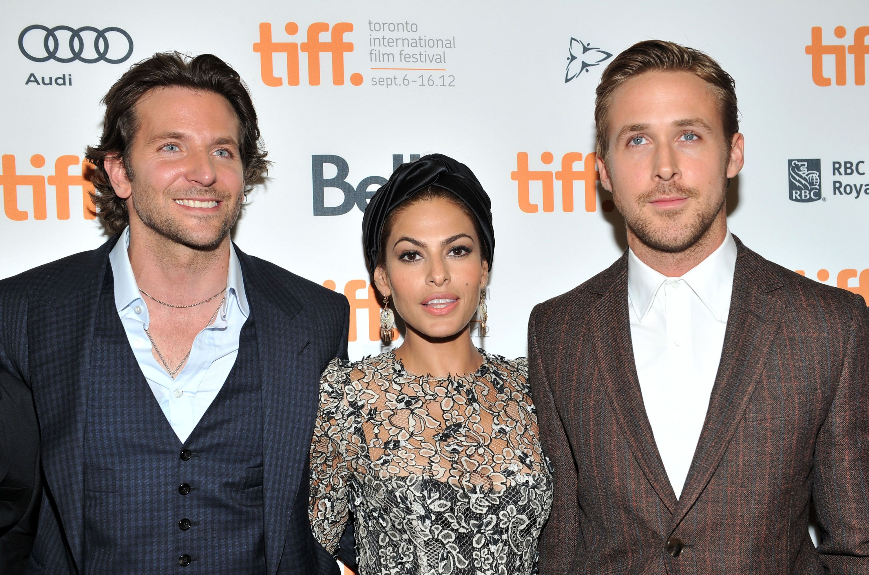 "Eva Mendes, Ryan Gosling and Bradley Cooper at ""The Place Beyond The Pines"" premiere at the 2012 Toronto International Film Festival 