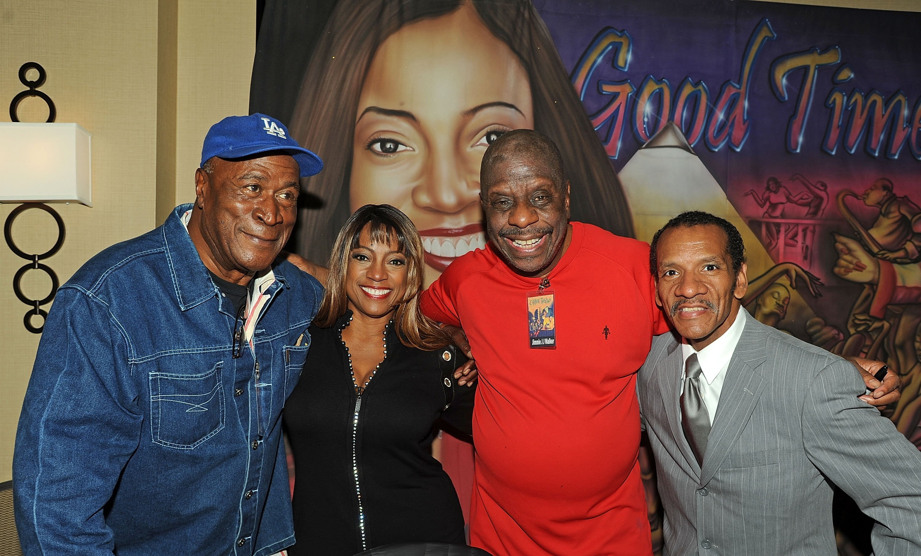 "John Amos, Bern Nadette Stanis, Jimmie JJ Walker and Ralph Carter of "" Good Times"" reunite at Day 1 of the Chiller Theatre Expo at Sheraton Parsippany Hotel on October 24, 2014 