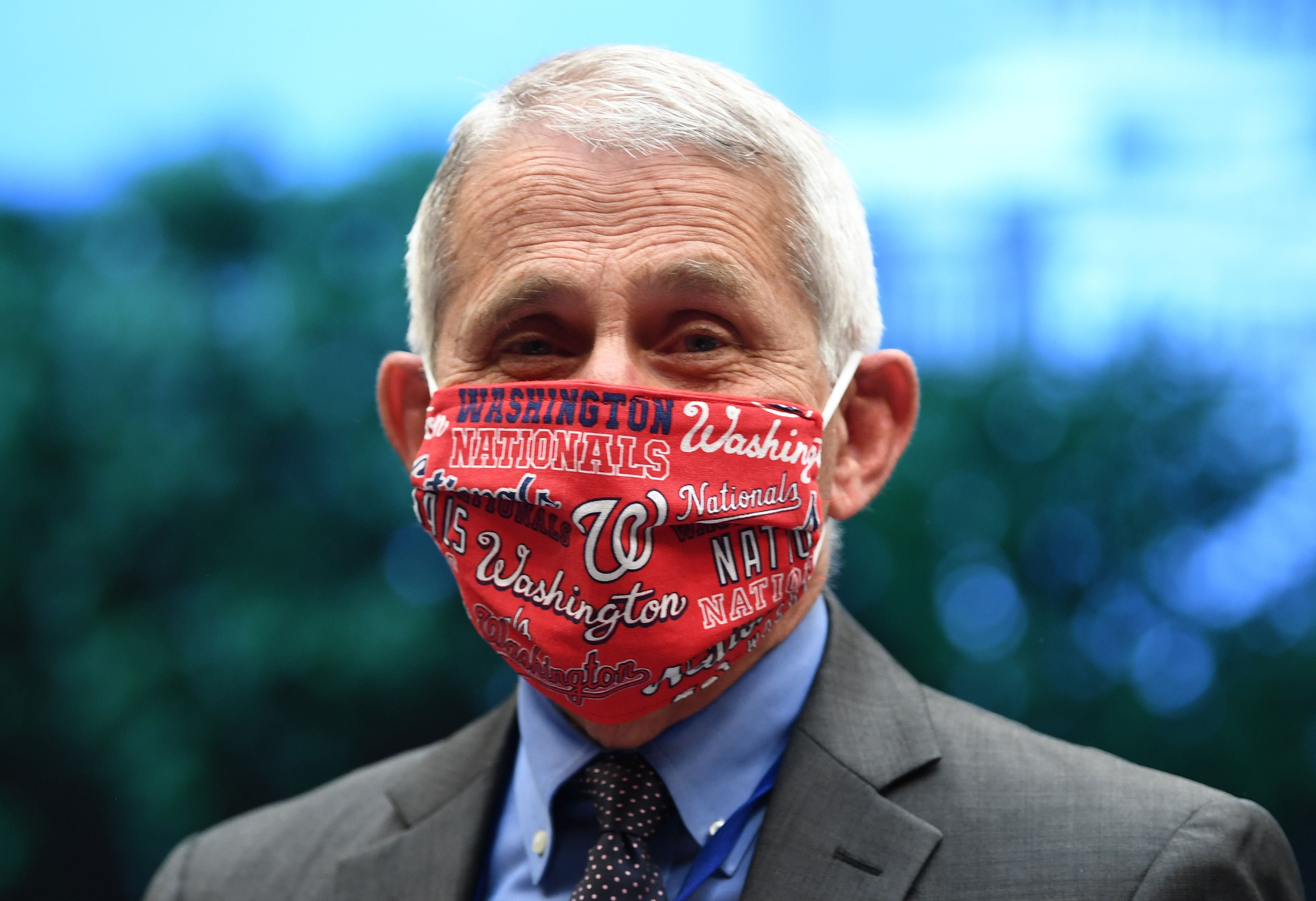 Dr. Anthony Fauci wore a face mask with logos for the Washington Nationals at a meeting for the House Committee on Capitol Hill on June 23, 2020, in Washington, DC | Photo: Getty Images