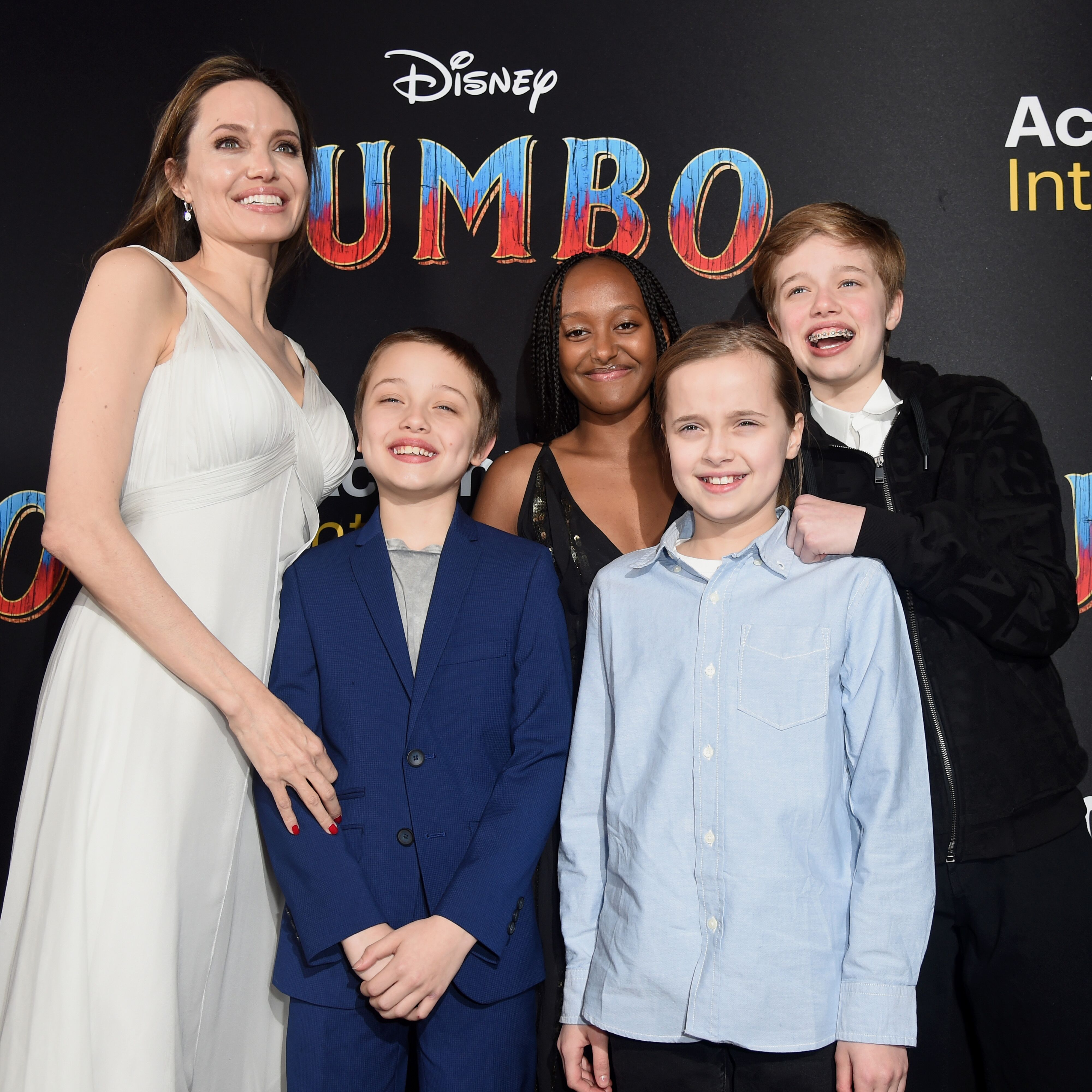 """Angelina Jolie, Knox Leon Jolie-Pitt, Zahara Marley Jolie-Pitt, Vivienne Marcheline Jolie-Pitt, and Shiloh Nouvel Jolie-Pitt attend the premiere of Disney's """"Dumbo"""" in 2019 in Los Angeles 