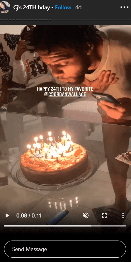 C.J. Wallace blowing out his birthday candles in a photo. | Photo: Instagram/Tyanna810