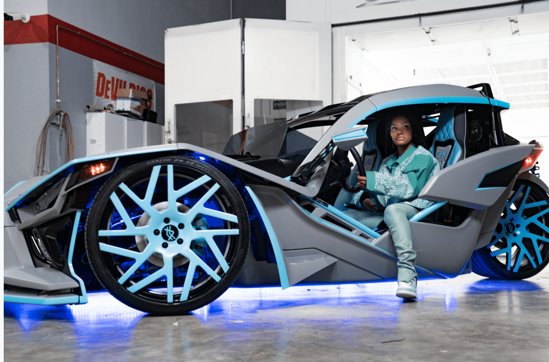 Teyana Taylor with her newly customized Slingshot. |  Photo courtesy of The Auto Firm