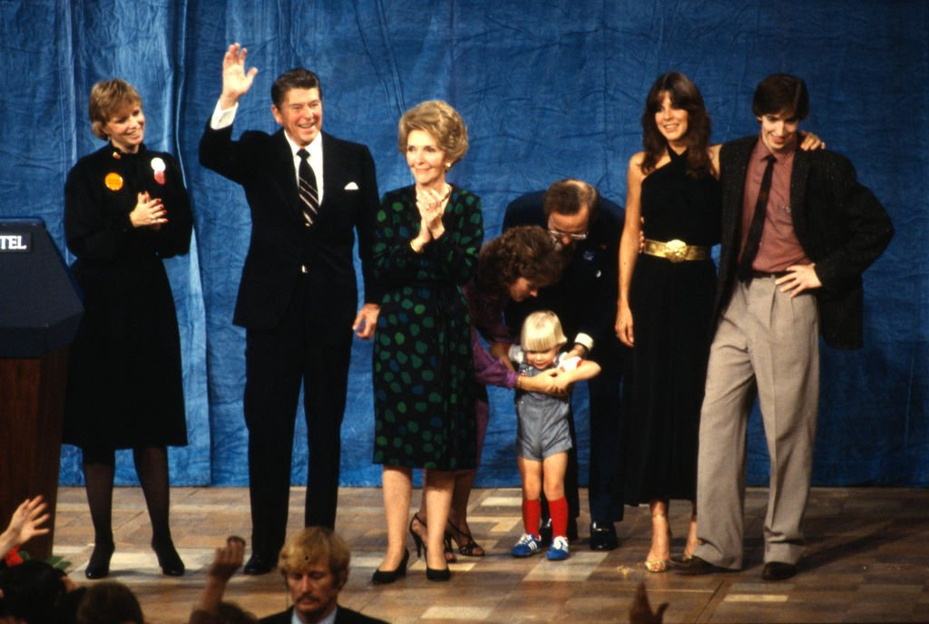 Ronald Reagan with his wife Nancy Reagan and members of their family, Maureen far left, Patti and Ron Reagan far right celebrate the victory making Ronald Reagan the 40th President of the United States November 4 1980 at the Century City Plaza Hotel,Los Angeles California. | Source: Getty Images