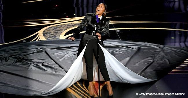 Jennifer Hudson's Tuxedo Coat with 15-Foot Train Grabs Attention Amid 'Awful' Oscars Performance